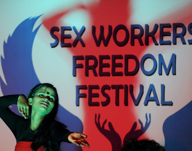 Children of Indian sex workers perform a dance drama during the Sex Workers' Freedom Festival in Kolkata.