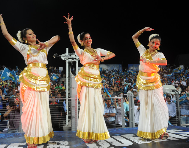 Pune Warriors cheerleaders dance before the start of the IPL Twenty20 cricket match between Pune Warriors India and Chennai Super Kings at The Subrata Roy Sahara Stadium.