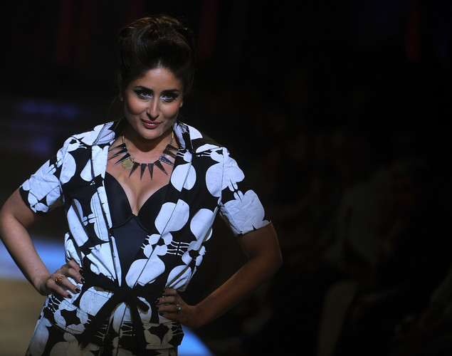 Indian Bollywood actress Kareena Kapoor showcases a creation by Indian designer Kallol Datta during the grand finale of the Lakme Fashion Week (LFW) winter/festive 2012 in Mumbai.