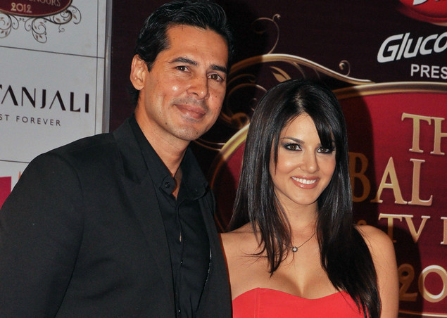 Indian Bollywood actor Dino Morea (L) and Sunny Leone