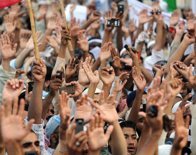 Pakistani Sunni Muslim protesters shout anti-US slogans during a rally against an anti-Islam movie in Karachi.