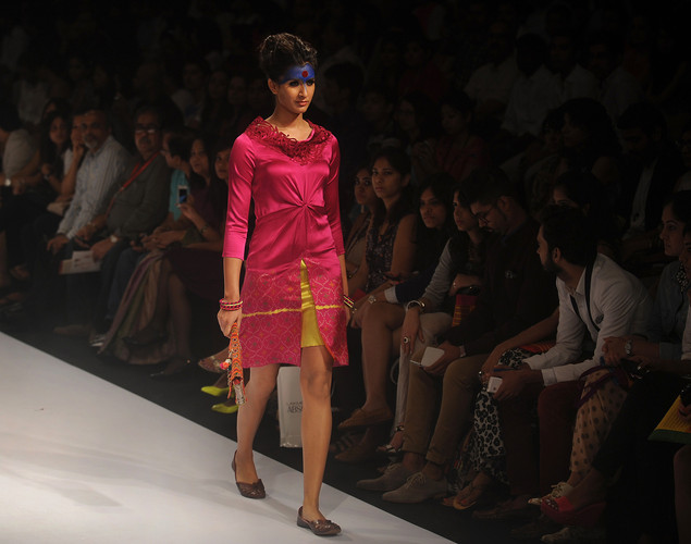 A model showcases a creation by designer Deepika Govind on the third day of Lakme Fashion Week (LFW) winter/festive 2012 in Mumbai on August 5, 2012.