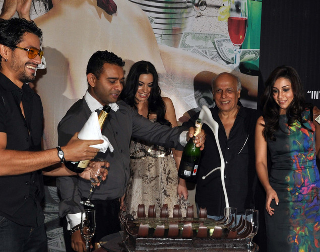 Kunal Khemu, film director Vishal Mahadkar, film actress Mia Uyeda, film director Mahesh Bhatt and film actress Amrita Puri attend the success party for the cast of Hindi film 'Blood Money' in Mumbai.