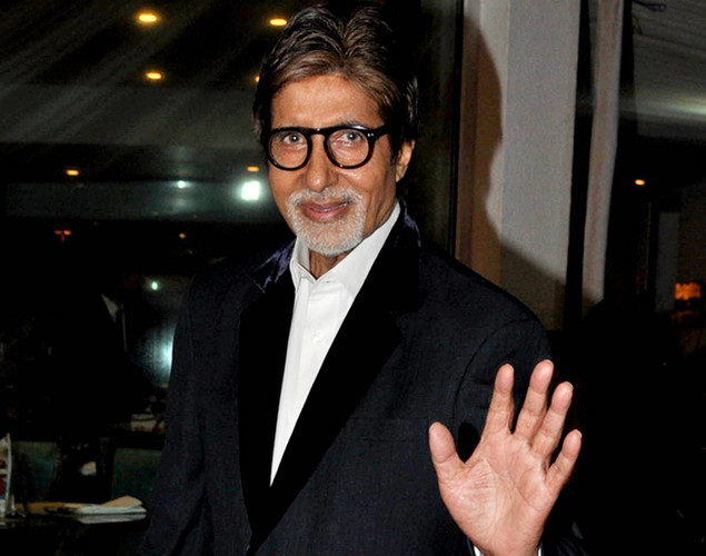 "Bollywood actors Amitabh Bachchan poses during a party for the Hindi film ""Ferrari Ki Sawaari"" in Mumbai."
