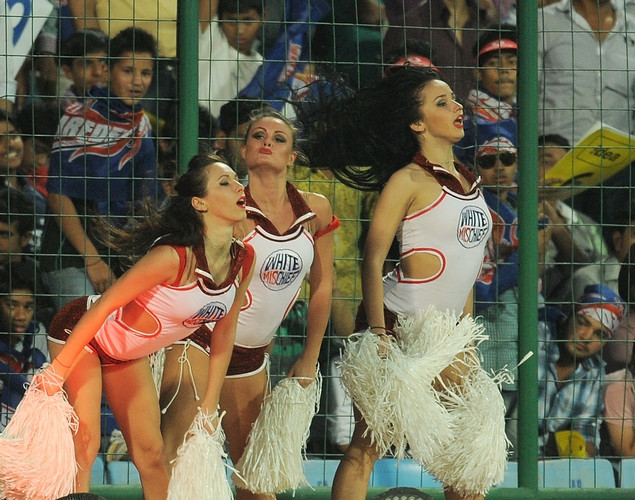 Delhi Daredevils cheerleaders perform during the IPL Twenty20 cricket match between Deccan Chargers and Delhi Daredevils at The Feroz Shah Kotla stadium.