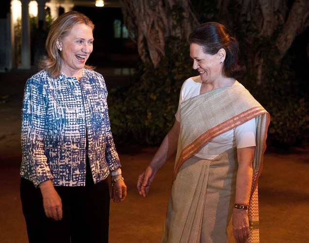 US Secretary of State Hillary Clinton (L) gestures while talking with United Progressive Alliance (UPA) Chairperson Sonia Gandhi prior to a meeting in New Delhi.
