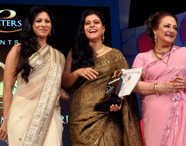 "Kajol (L) her sister Tanisha (L), and Saira Banu (R) attend the ""143rd Dadasaheb Phalke Academy Awards 2012"" ceremony, celebrating Indian Cinema in Mumbai."