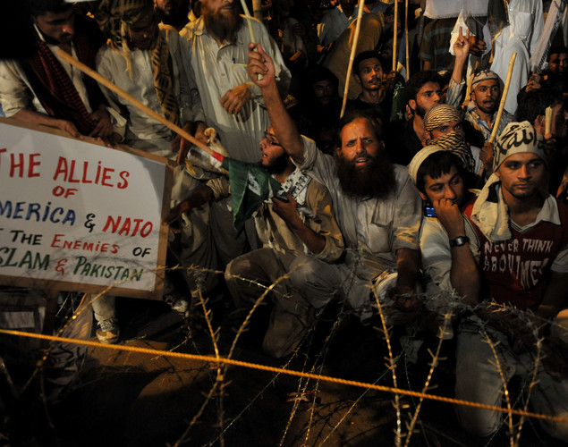 Activists of Defense of Pakistan coalition shout slogans during a protest rally in Islamabad against the reopening of NATO supply to Afghanistan.