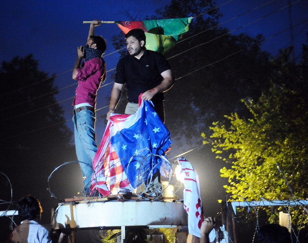 Pakistani Shiite Muslims shout anti-US slogans during a protest against an anti-Islam movie in Lahore.