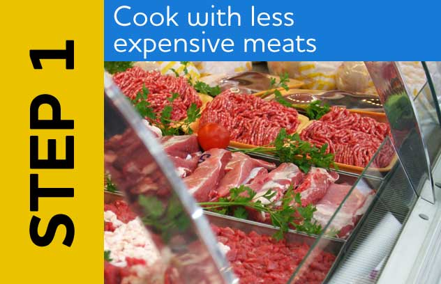 Step 1: Cook with Less Expensive Meats