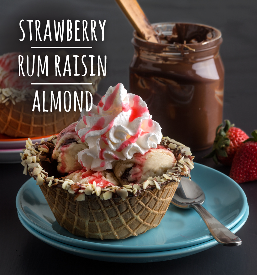 Strawberry, Rum Raisin and Almond Sundae