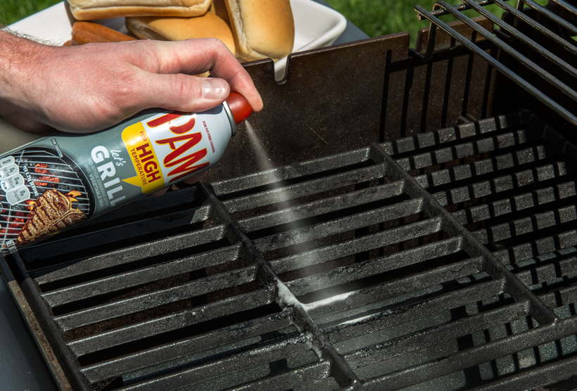 Spraying Grill Grates with PAM