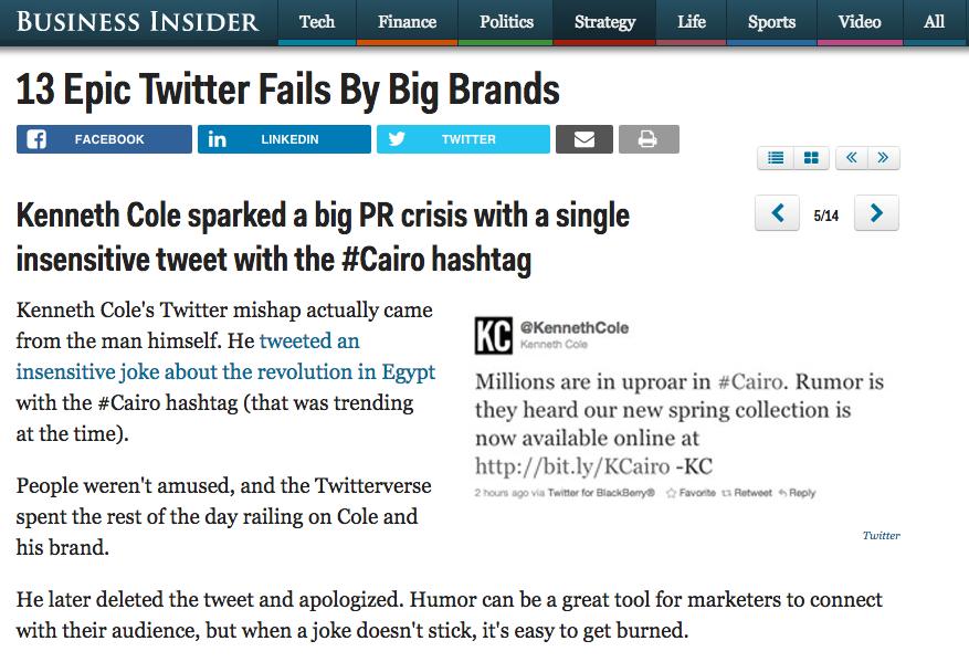 Social media strategy fails