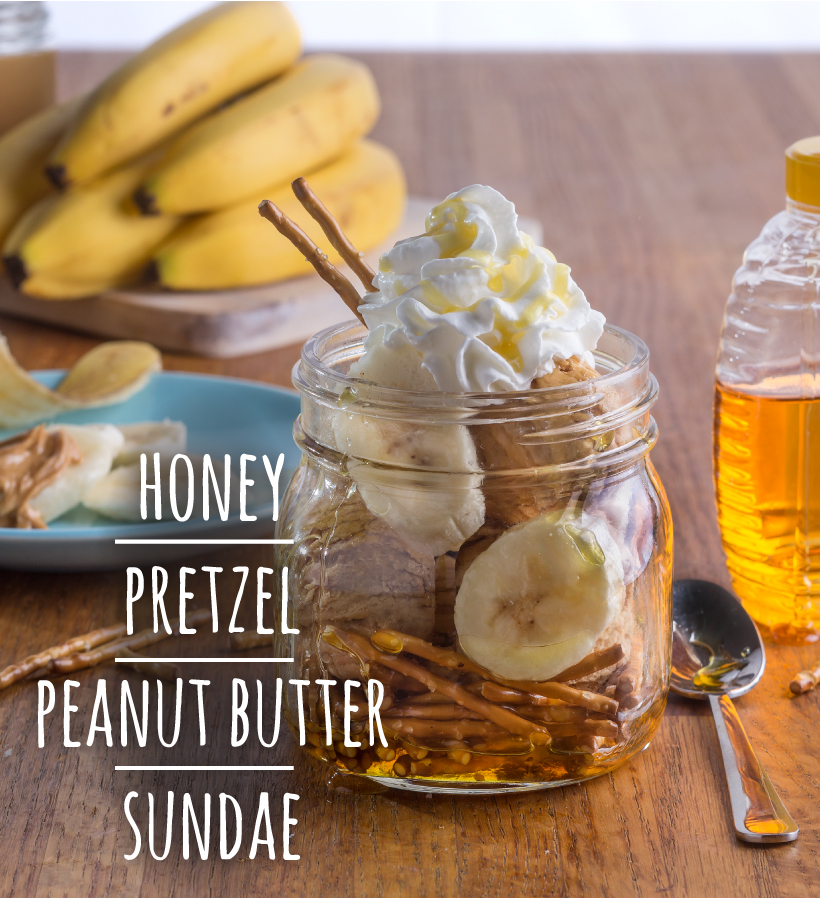 Honey Pretzel Peanut Butter Sundae