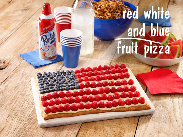 Red, White and Blue Fruit Pizza for the 4th of July