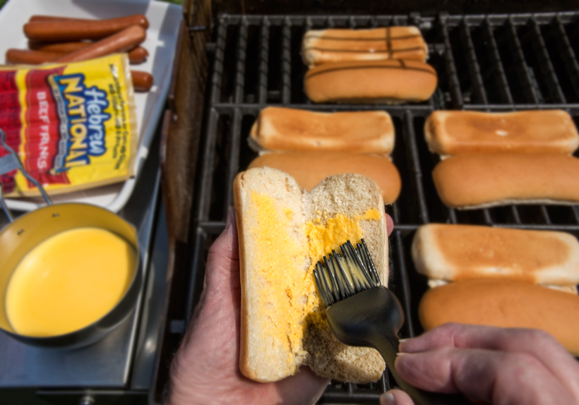 Spreading Butter on Hot Dog Bun