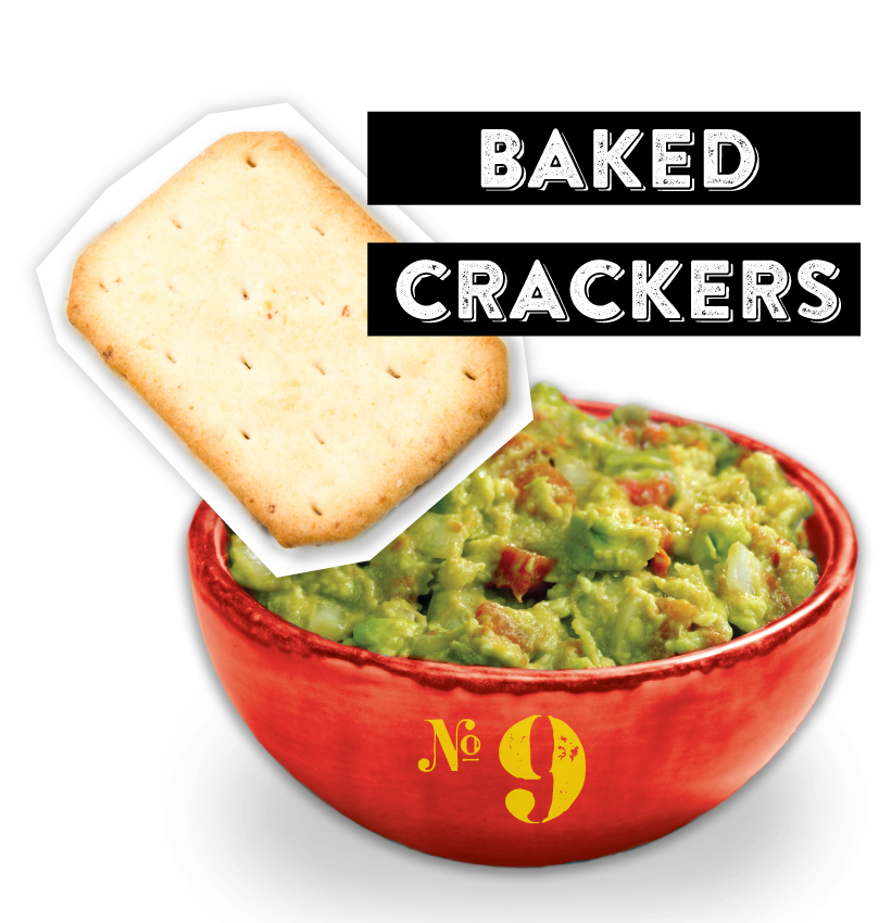 Baked Crackers Guacamole Dipper