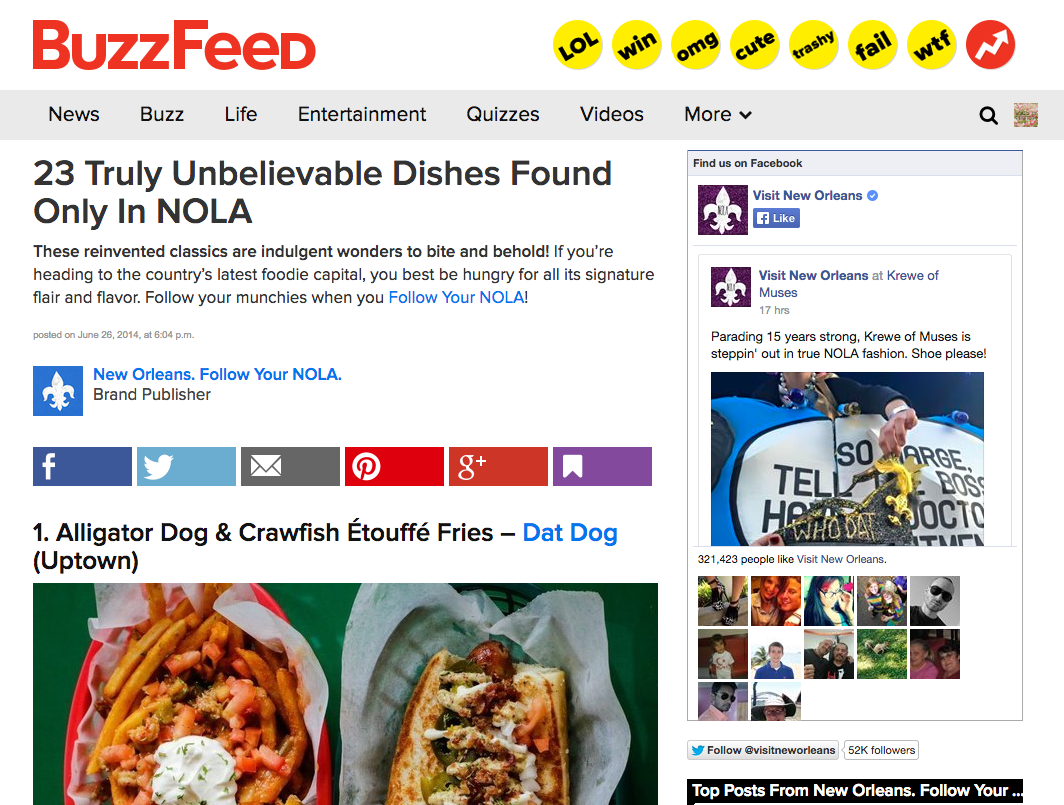 Buzzfeed and New Orleans Follow Your Nola partnership