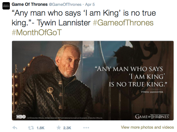 game of thrones content marketing