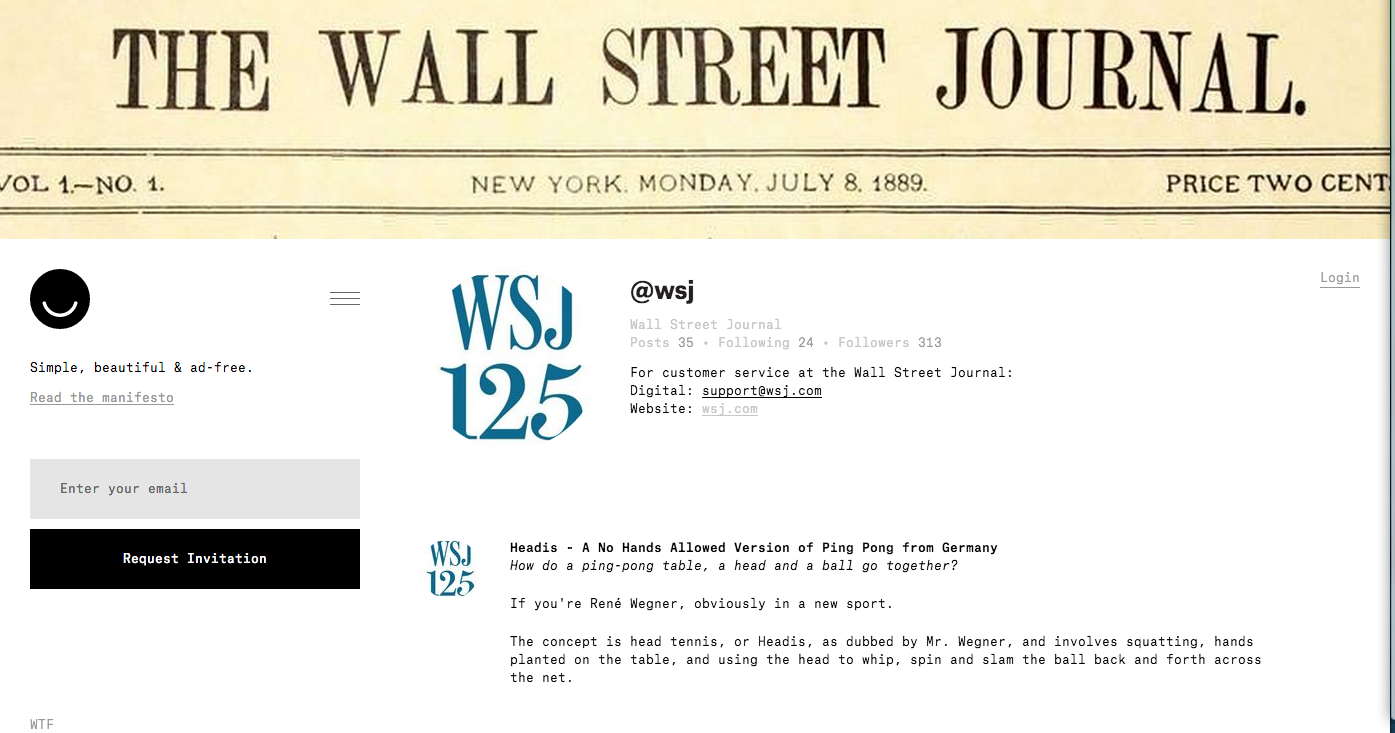 Wall Street Journal Ello