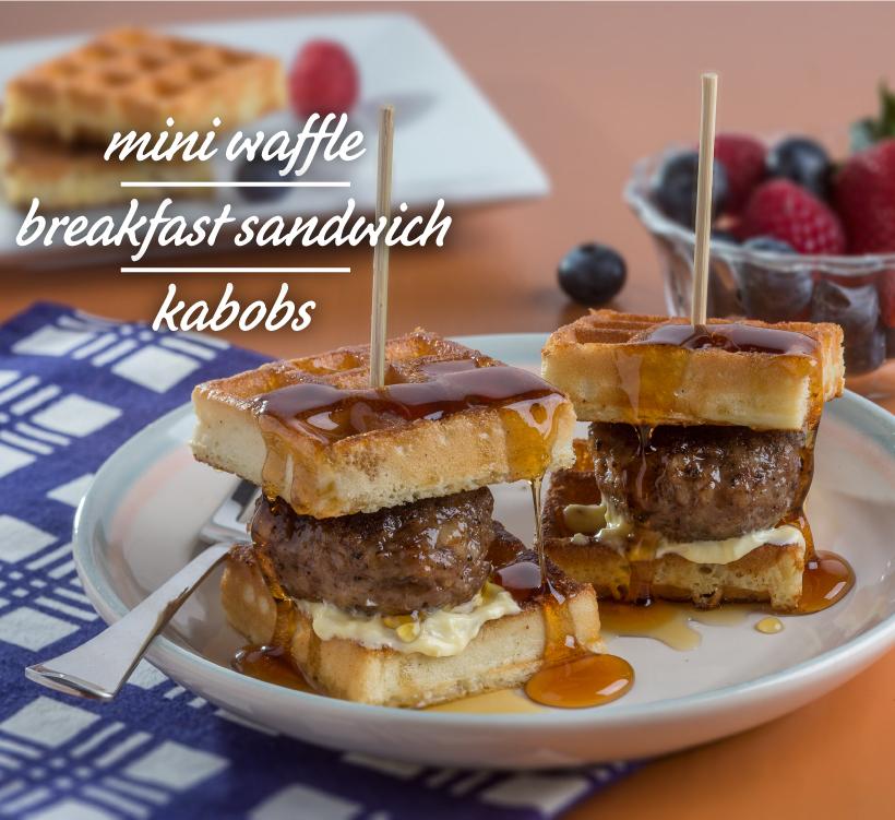 Mini Waffle Breakfast Sandwich Kabobs