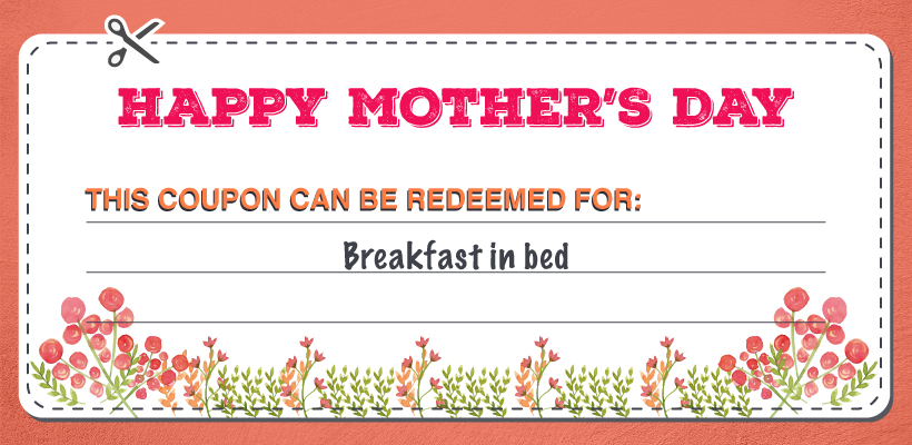 Breakfast in Bed Mother's Day coupon