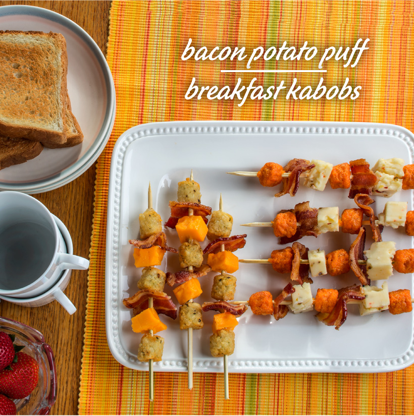 Bacon Potato Puff Breakfast Kabobs
