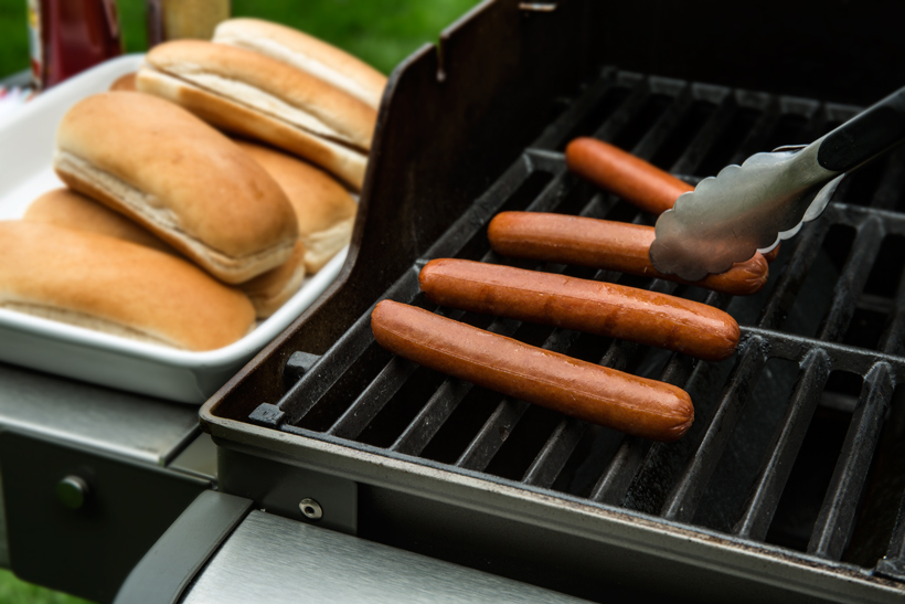 Turning Hot Dogs on the Grill